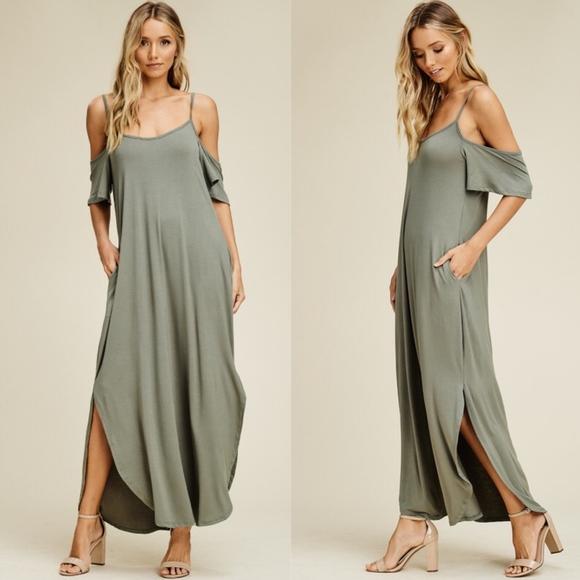 Bellanblue Dresses & Skirts - RILEY Cold Shoulder Maxi Dress - LIGHT OLIVE